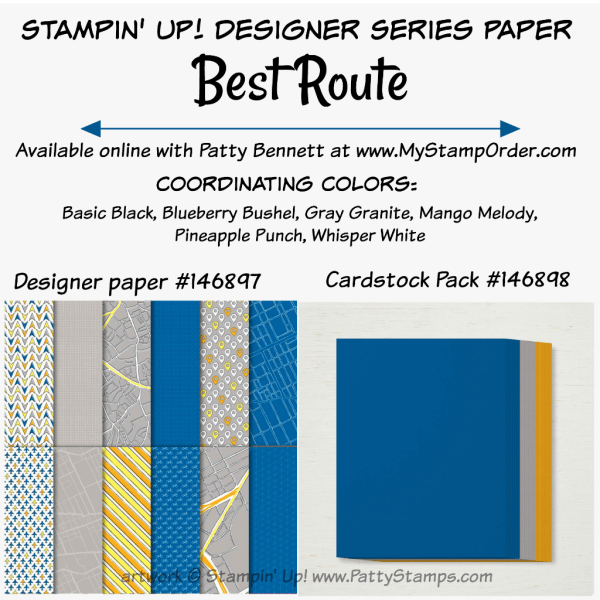 Stampin' UP! Best Route designer paper and coordinating cardstock pack available at www.MyStampOrder.com