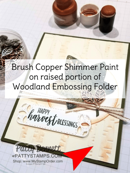 Falling for Leaves fall card ideas featuring Brusho Crystal Colour, watercolor paper, Woodland Embossing Folder, Copper Shimmer paint, by Patty Bennett.   Stampin' UP! paper crafting supplies available at www.MyStampOrder.com