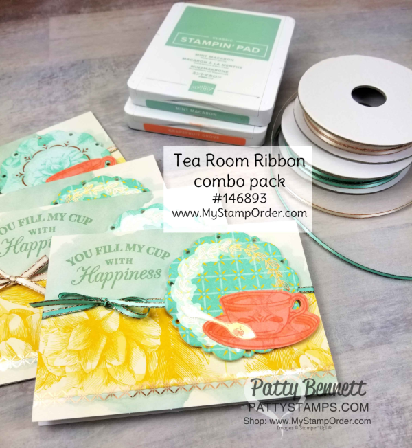 Tea Room Suite note card set featuring Stampin' Up! Time for Tea bundle, by Patty Bennett www.PattyStamps.com