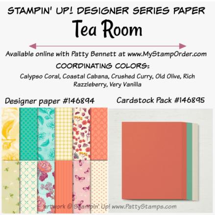 Stampin' UP! Tea Room designer paper and coordinating cardstock pack available at www.MyStampOrder.com