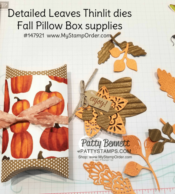 Supplies for Fall leaf Stampin' UP! Pillow box featuring Corrugated embossing folder, copper shimmer paint and Detailed Leaves thinlits. Pillow box candy treat idea by Patty Bennett, www.PattyStamps.com