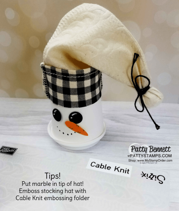 Ruth Bingle's Craft your Christmas stamping and paper crafting Retreat, Oct. 2018. Table decorations featuring Paper Pumpkin stockings turned into utencil holders and snowmen caps on mini coffee cups!
