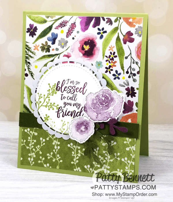 Frosted Floral handmade friendship cards featuring Stampin' Up! First Frost stamp set and Champagne Mist Shimmer Paint by Patty Bennett, www.PattyStamps.com