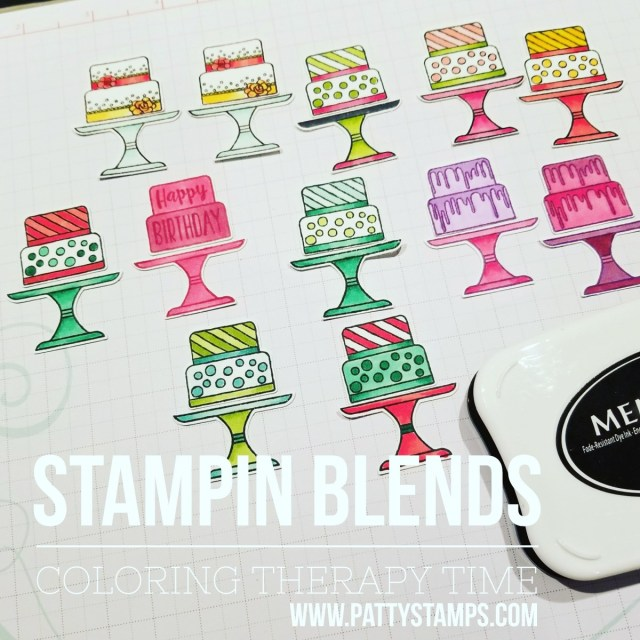 Coloring Stampin' Up! Piece of Cake images with Stampin' Blends markers. Patty Bennett www.PattyStamps.com