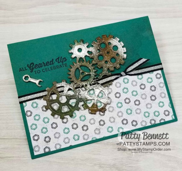 Stampin UP! Classic Garage Suite masculine card idea with Embossed Garage Gears. www.PattyStamps.com
