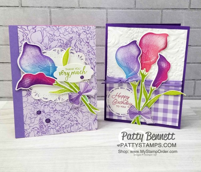 Stampin' Up! Sale-a-Bration Lasting Lily stamp set and matching Lily framelits! Card ideas by Patty Bennett. Limited time offer - March 2019 www.PattyStamps.com