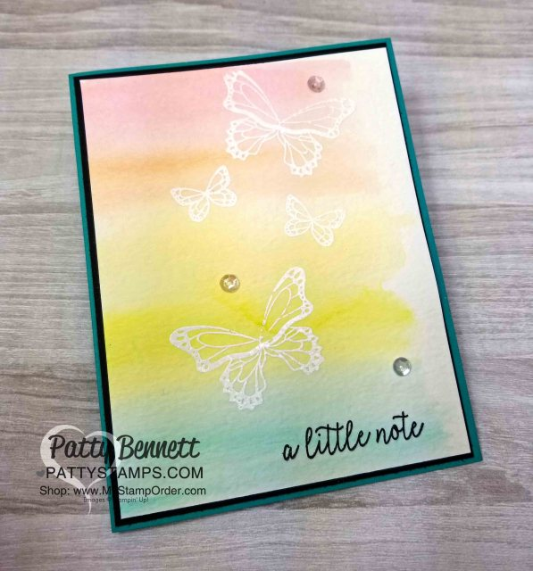 Butterfly Gala stamp set card with Watercolor Wash background. Stampin' Up! papercrafting supplies. www.PattyStamps.com
