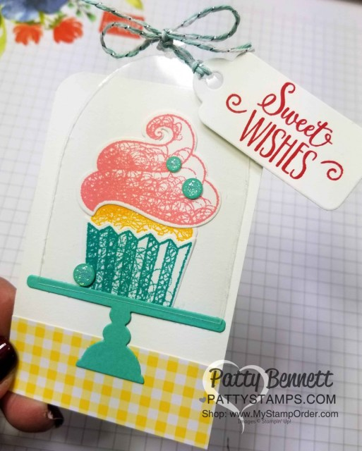 Sale-a-Bration 2019 Hello Cupcake stamp set from Stampin' UP! with matching Call Me Cupcake framelits. Birthday gift tag idea by Patty Bennett www.PattyStamps.com