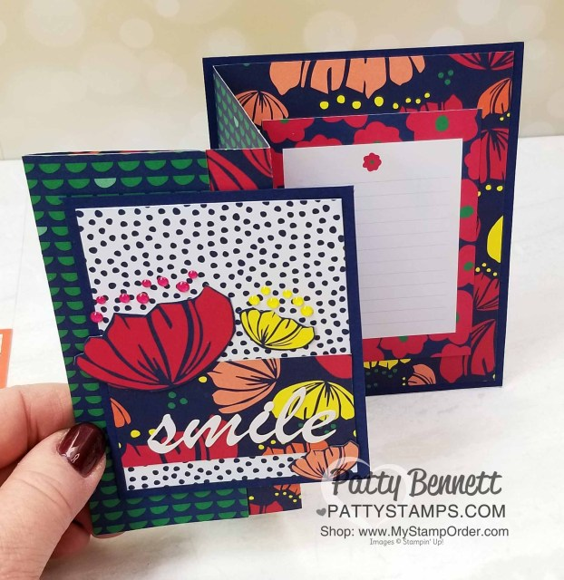 Happiness Blooms designer paper fun fold card idea featuring Stampin' Up! card making supplies and Memories & More cards, by Patty Bennett, www.PattyStamps.com