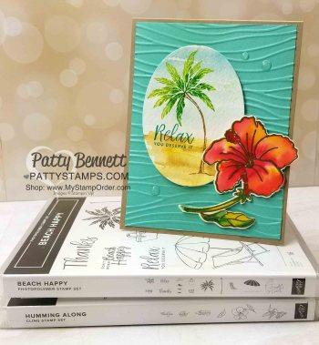 Watercolored Hibiscus Beach Happy Card