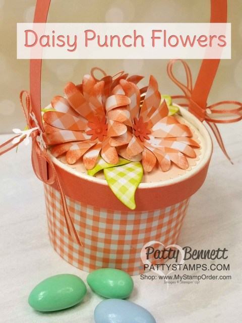 Stampin' UP! sweet cups Easter Basket idea with Gingham Gala paper and Daisy Punch flowers! www.PattyStamps.com