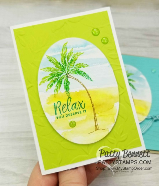 Stampin' UP! Beach Happy stamp set with watercolor background and stamped palm tree featuring Layered Leaves embossing folder by Patty Bennett www.PattyStamps.com
