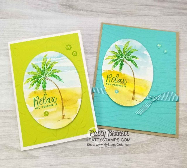 Stampin' UP! Beach Happy stamp set with watercolor background and stamped palm tree featuring Seaside and Layered Leaves embossing folders by Patty Bennett www.PattyStamps.com