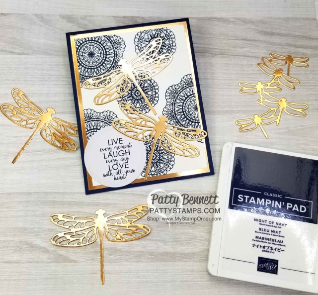 Stampin' UP! Dear Doily stamp set background in Night of Navy ink, with Copper Foil paper mat and Copper Foil Detailed Dragonfly die cuts. Greeting stamped on Sweet Pins & Tags tag. www.PattyStamps.com
