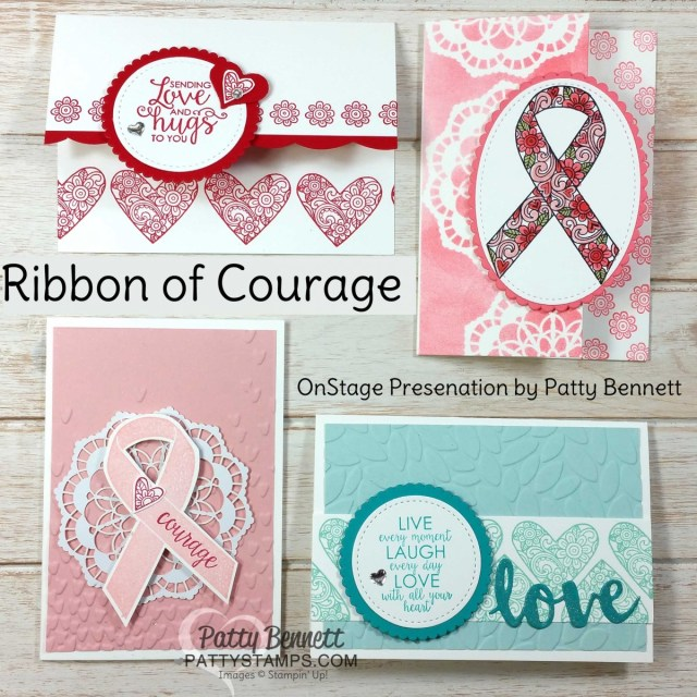 Stampin' UP! Ribbon of Courage stamp set - designed by Patty Bennett in honor of my mom's battle with Cancer. Great set for hope, encouragement, thank you and love you! www.PattyStamps.com