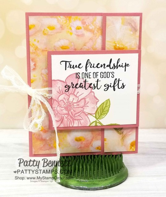 Stampin' UP! To a Wild Rose stamp set and Perennial Essence designer paper fun fold card idea. www.PattyStamps.com