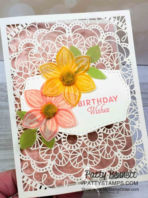 Stampin' Up! Bird Ballad Laser Cut detailed cards with Floral Essence stamp set and Perennial Flower punch! Featuring Perennial Essence vellum flowers. Birthday card idea from Patty Bennett www.PattyStamps.com