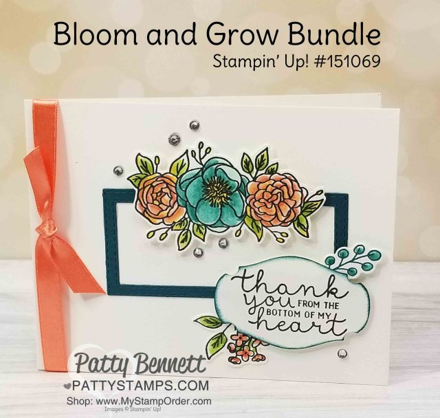 Bloom and Grow Stamp Set and Die bundle from Stampin' Up! Thank you card idea featuring coloring with Stampin' Blends markers. www.PattyStamps.com
