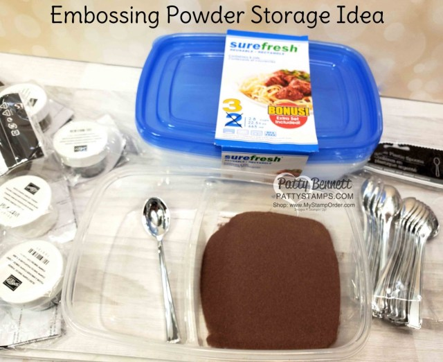 Craft Room Organization TIP: use dual compartment Dollar Store containers to store embossing powder and a spoon!! Label with Brother P-Touch labeler. Stampin' UP! embossing powder available at www.MyStampOrder.com Patty Bennett www.PattyStamps.com