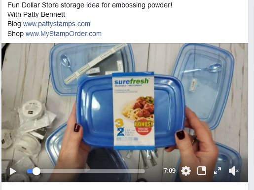 Video: How to store embossing powder in dollar store containers with mini spoons!  www.PattyStamps.com