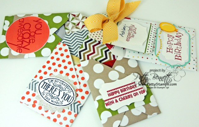 Envelope Punch Board Gift Card Holder idea from Patty Bennett. Stampin' UP! paper crafting products available at www.MyStampOrder.com