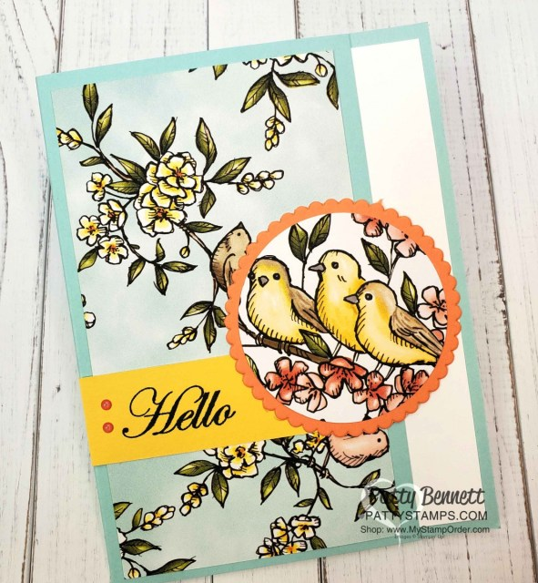 """Bird Ballad designer paper card ideas featuring 2-1/4"""" circle punch and Layering Circle scallop die by Patty Bennett, www.PattyStamps.com #149592 available online www.MyStampOrder.com"""