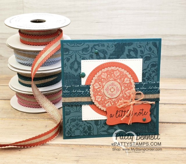 Woven Threads designer paper card idea featuring Stampin' Up! In Color ribbon, by Patty Bennett www.PattyStamps.com