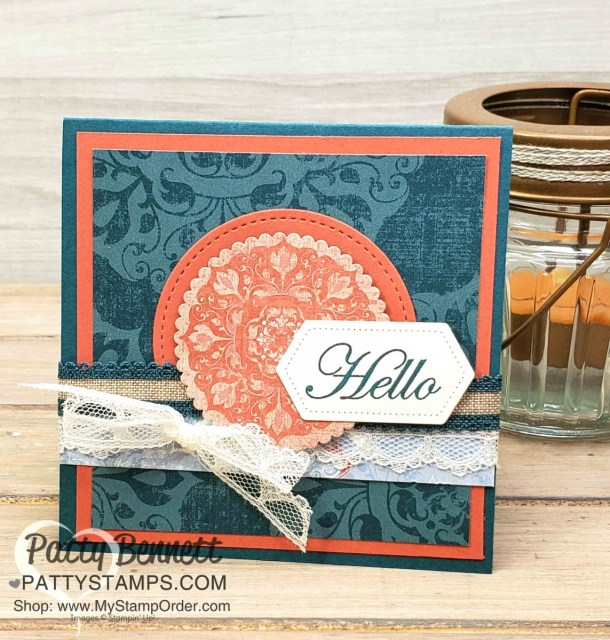 Woven Threads designer paper card idea featuring Stampin' Up! In Color ribbon and scalloped lace trim, by Patty Bennett www.PattyStamps.com
