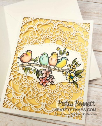 Bird Ballad Laser Cut Card with Stampin' Blends
