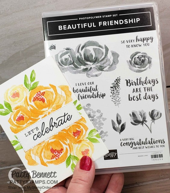 Beautiful Friendship floral stamp set from Stampin' Up!. Note Card ideas with rose stamp by Patty Bennett www.PattyStamps.com