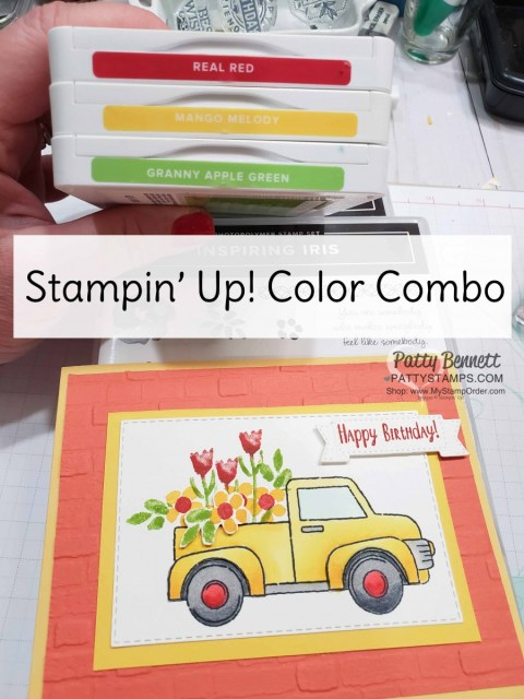 Color Combo for: Stampin' UP! Ride with Me card idea featuring the Inspiring Iris floral stamp set and Brick and Mortar embossing Folder background. Truck colored with Stampin' Blends markers. By Patty Bennett, www.PattyStamps.com
