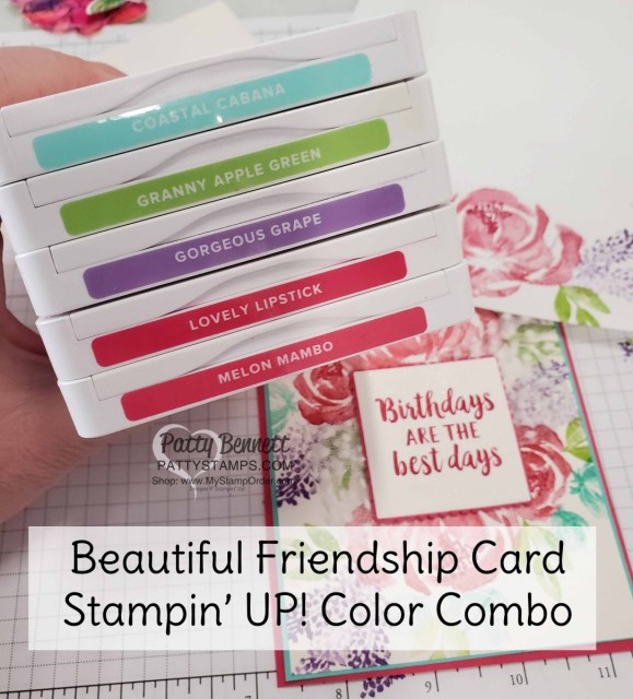 Ink Pad Color Combo for Beautiful Friendship Stampin' Up! flower card with Polka Dot Tulle Ribbon. www.PattyStamps.com