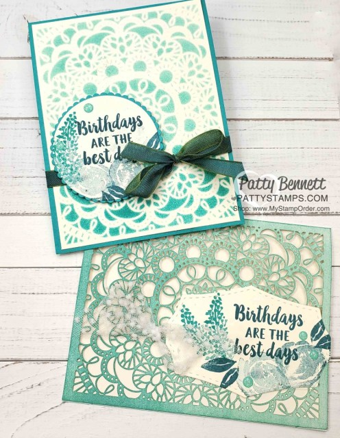 Bird Ballad Laser Cut Cards colored with a sponge brayer. Stampin' Up! card making supplies feature Beautiful Friendship stamp set and Olive/Peacock ribbon. www.PattyStamps.com