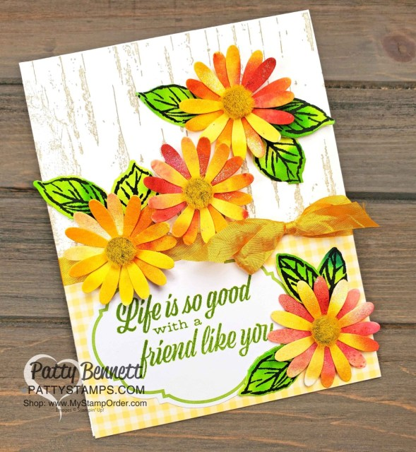 Floral Card created with Stampin' UP! Pigment Sprinkles featuring the medium Daisy Punch and the Birch Background stamp. By Patty Bennett www.PattyStamps.com