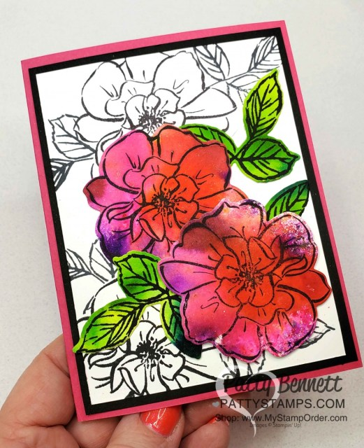 Floral Card created with Stampin' UP! Pigment Sprinkles featuring the To a Wild Rose stamp set and dies. By Patty Bennett www.PattyStamps.com