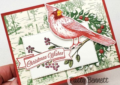 Toile Christmas Cardinal with Puff Paint