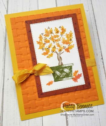 Fall Topiary Card with Basket Weave embossing Folder