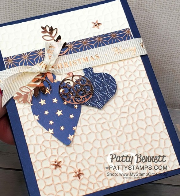 Stampin' UP! Brightly Gleaming Suite Christmas Card idea featuring the Hammered Metal embossing folder with Copper Delicata ink and Ornament punch embellishments! By Patty Bennett www.PattyStamps.com