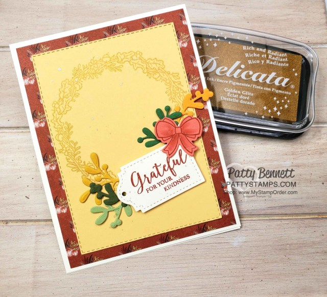 Stampin' UP! Seasonal Wreaths set with Gold Delicata Metallic ink. Fall cardmaking ideas featuring the Come to Gather designer paper by Patty Bennett, www.PattyStamps.com