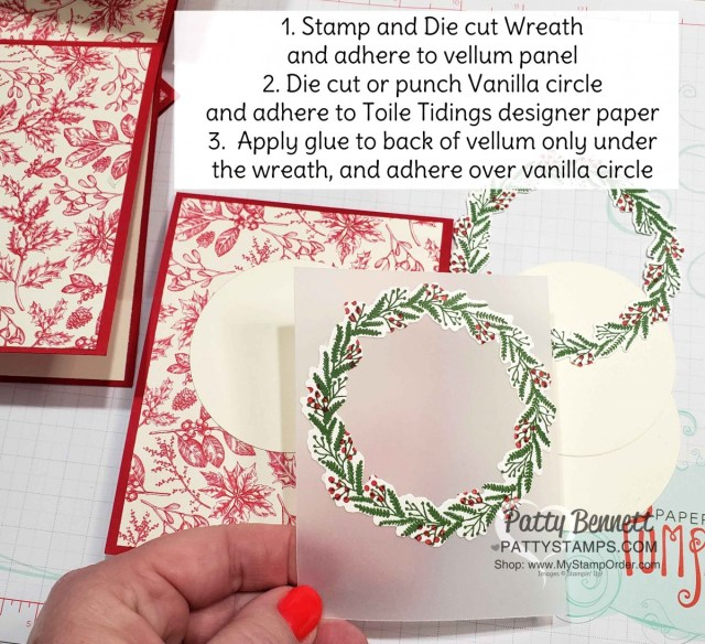Tips for making the Cardinal Christmas Card idea featuring the Stampin' UP! Holiday Catalog Toile Tidings suite of papercrafting products! by Patty Bennett www.PattyStamps.com