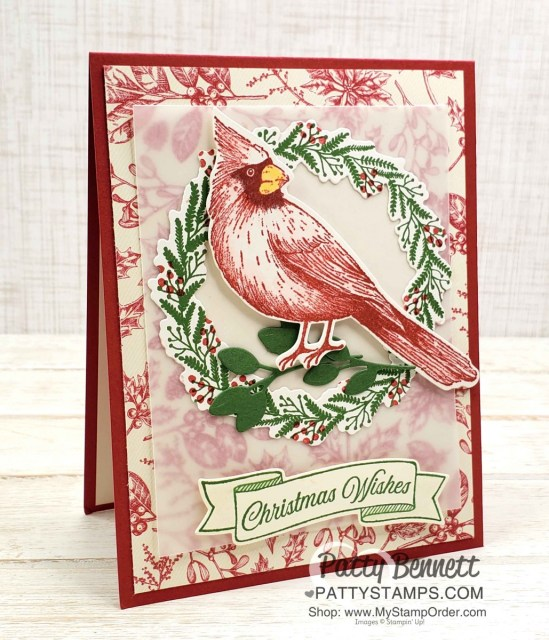 Handmade Christmas card idea featuring the Cardinal Christmas stamp from the Stampin' UP! Holiday Catalog Toile Tidings suite of papercrafting products! by Patty Bennett www.PattyStamps.com