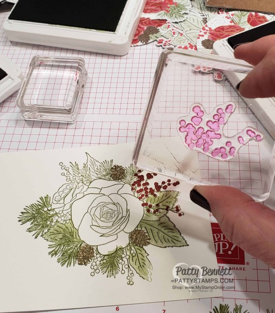 Christmastime is Here suite from Stampin Up Christmas Rose stamp set - tips for stamping Christmas Card. By Patty Bennett www.PattyStamps.com