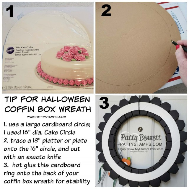 Tip for making the DIY Halloween Wreath idea featuring Coffin Boxes from Stampin Up! - with Stylish Scroll embossing folder and Delicata metallic inks, by Patty Bennett, www.PattyStamps.com