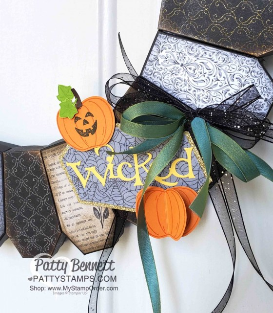DIY Halloween Wreath idea featuring Coffin Boxes from Stampin Up! - with Wicked die cut, Harvest Hellos pumpkins, Stylish Scroll embossing folder and Delicata metallic inks, by Patty Bennett, www.PattyStamps.com