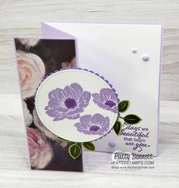 Z Fold Card featuring Stampin' UP! Floral Essence stamp set and Purple Posy ink, with Perennial Essence designer paper by Patty Bennett www.PattyStamps.com