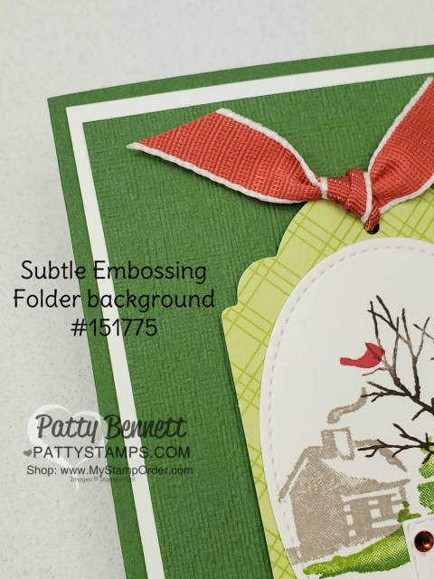 Stampin Up Snow Front stamp set Christmas or Holiday card idea Featuring Subtle Embossing Folder and Tags & More tag by Patty Bennett www.PattyStamps.com