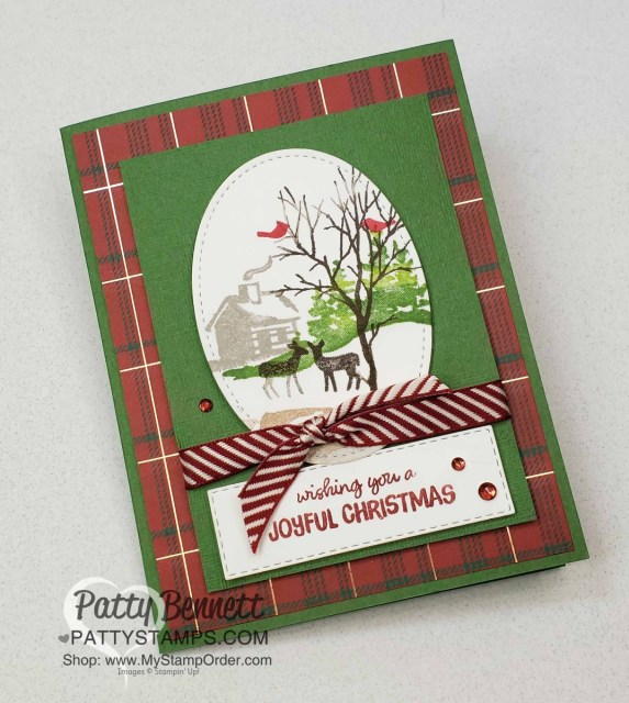 Stampin Up Snow Front stamp set Christmas or Holiday card idea Featuring Wrapped in Plaid DSP by Patty Bennett www.PattyStamps.com