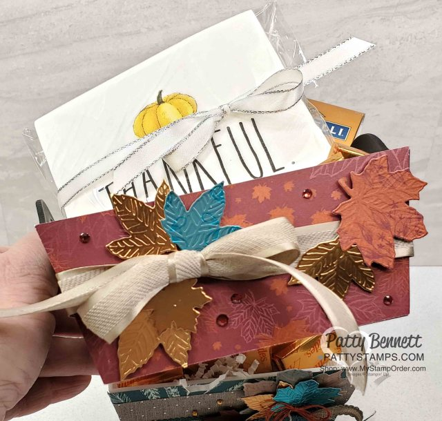 DIY Thanksgiving Hostess gift idea featuring Thankful napkins, fall candy and Stampin' UP! Come to Gather designer paper and Gathered Leaves die cuts, by Patty Bennett www.PattyStamps.com