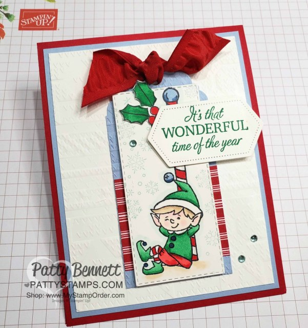 #Elfie stamp set colored with Stampin' Blends markers - fun Christmas card idea by Patty Bennett, also featuring Let it Snow designer paper and . www.PattyStamps.com