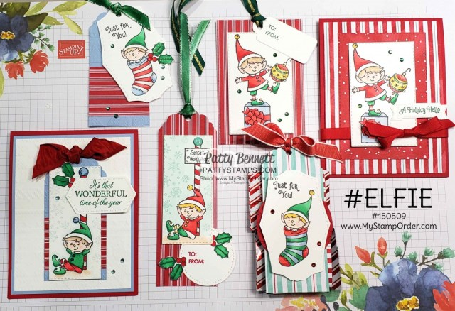 #Elfie stamp set colored with Stampin' Blends markers - fun Christmas tag and card ideas by Patty Bennett, also featuring Let it Snow designer paper. www.PattyStamps.com